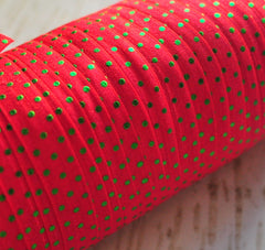 Metallic Printed Foldover Elastic-Red with Green Dots