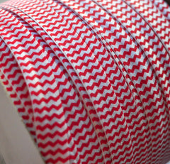 Chevron Foldover Elastic by the Yard-Cherry Red