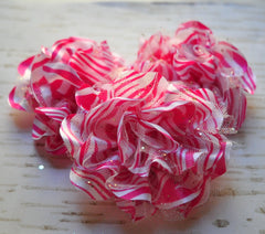 Glittered Zebra Flower - Hot Pink - 4""