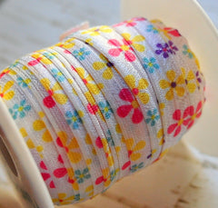 "Valentines & St Pattys Patterned Fold Over Elastic-5/8"" Width-Retro Flowers"