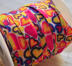 "Valentines & St Pattys Patterned Fold Over Elastic-5/8"" Width-Retro Hearts"