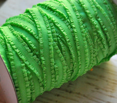 "3/8"" Ruffled Elastic by the Yard - Lime Green"