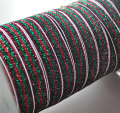 "Custom Glitter Elastic by the Yard - 5/8"" Width - Cranberry/Emerald/Red"