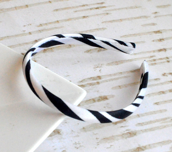 Satin Doll Headband Black Zebra