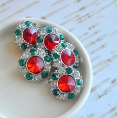 21mm Christmas Button - Red White Green