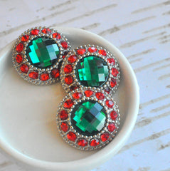 XL 30mm Red and Green Button