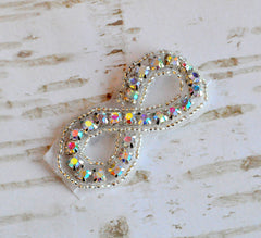 Beaded Bridal Applique-Single Applique-Iridescent Infinity