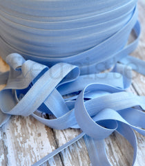 "Solid 5/8"" Foldover Elastic by the Yard-Ice Blue"