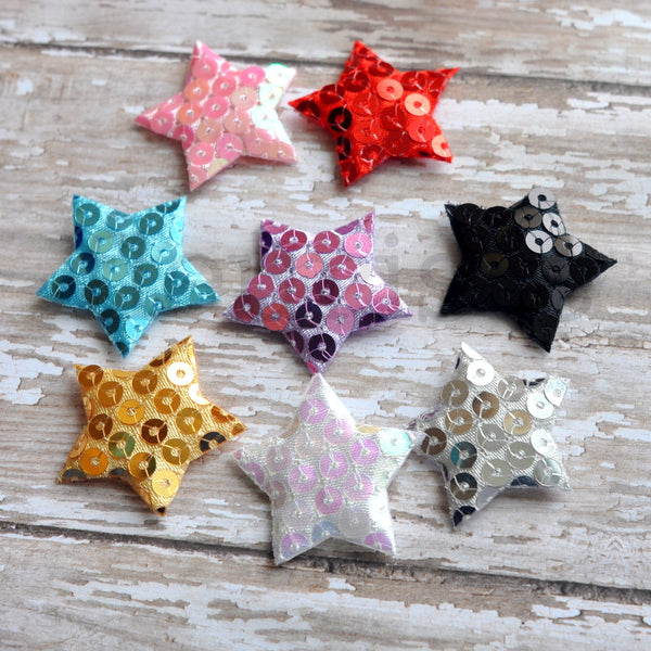 Padded Sequin Star Appliques-Pick Your Color