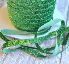 Regular Glitter Elastics by the Yard-Lime
