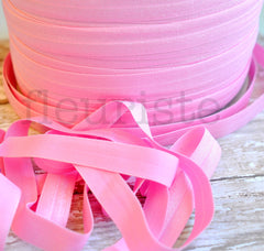 "Solid 5/8"" Foldover Elastic by the Yard-Powder Pink"