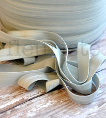 "Solid 5/8"" Foldover Elastic by the Yard-Aluminum Gray"
