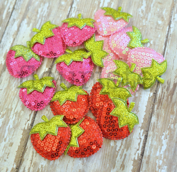 Extra Large Padded Strawberry Appliques-Pick Your Color