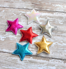 Padded Metallic Star Appliques-Pick Your Color
