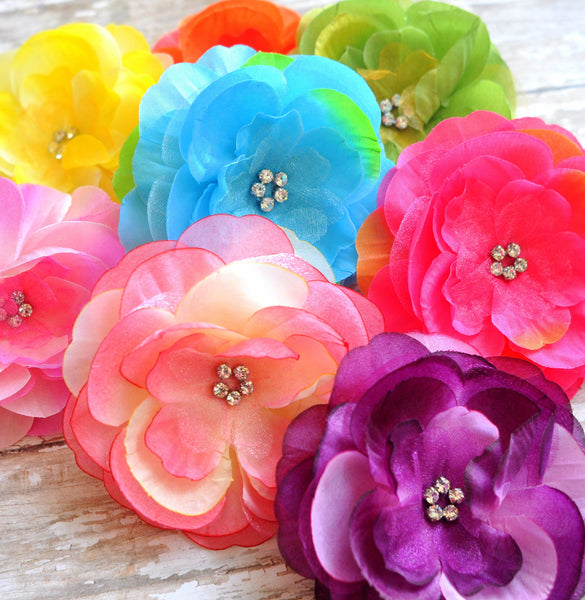 Rhinestone Centered Flowers-Pick Your Color