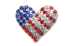 4th of july Heart Rhinestone Button