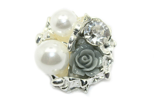 Vintage Rhinestone Flower Centered Button