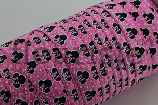 "Printed Fold Over Elastic-5/8"" Width Mouse Head- choose color"