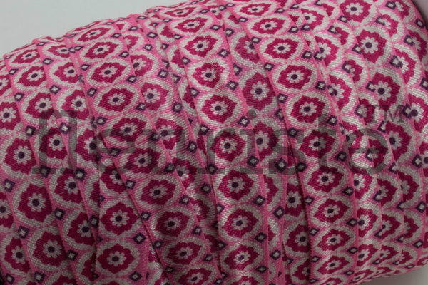 "Pink Floral Printed Fold Over Elastic-5/8"" Width"