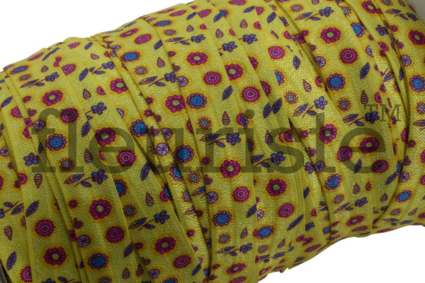 "Yellow Floral Printed Fold Over Elastic-5/8"" Width"