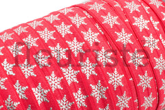 "Christmas Fold Over Elastic-5/8"" Width- Snowflakes on red"