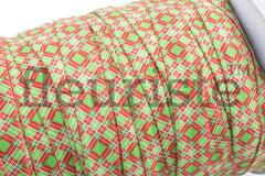 "Christmas Fold Over Elastic-5/8"" Width- Red Diamonds on Green"