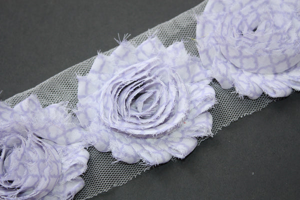 NEW Quatrefoil Shabby Flower 1/2 yard or 1 yard trim