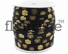 "St Valentines Patterned Fold Over Elastic-5/8"" Width-Black Gold Roses"