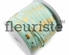 "St Valentines Patterned Fold Over Elastic-5/8"" Width-Aqua Gold Hearts"