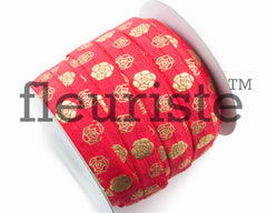 "St Valentines Patterned Fold Over Elastic-5/8"" Width-Valentine's Red Gold Flowers"