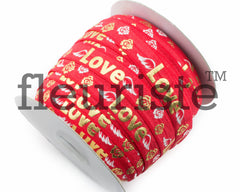 "St Valentines Patterned Fold Over Elastic-5/8"" Width-Valentine's Day Red Gold Love"