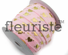"St Valentines Patterned Fold Over Elastic-5/8"" Width-Valentine's Day Pink Gold Heart"