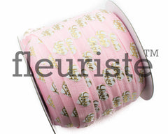 "St Valentines Patterned Fold Over Elastic-5/8"" Width-Pink Gold Love"