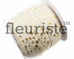 "St Valentines Patterned Fold Over Elastic-5/8"" Width-Cream Gold Love"