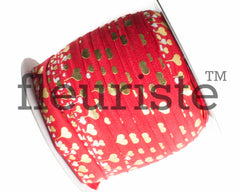"St Valentines Patterned Fold Over Elastic-5/8"" Width Red Gold Hearts"