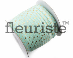 "St Valentines Patterned Fold Over Elastic-5/8"" Width Aqua Gold Hearts"