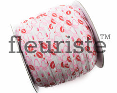 "St Valentines Patterned Fold Over Elastic-5/8"" Width White Red Lips, Hearts"