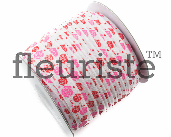 "St Valentines Patterned Fold Over Elastic-5/8"" Width Red Pink Flower"
