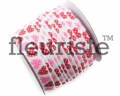 "St Valentines Patterned Fold Over Elastic-5/8"" Width Red Pink Hearts"