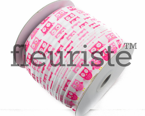 "Owls Printed Fold Over Elastic-5/8"" Width O02"