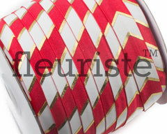 Printed Metallic Elastic 5/8 Red Gold Chunky Chevron