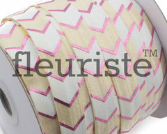 Printed Metallic Elastic 5/8 Cream Pink Chunky Chevron