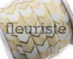 Printed Metallic Elastic 5/8 Cream Gold Chunky Chevron