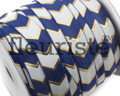 Printed Metallic Elastic 5/8 Navy Gold Chunky Chevron