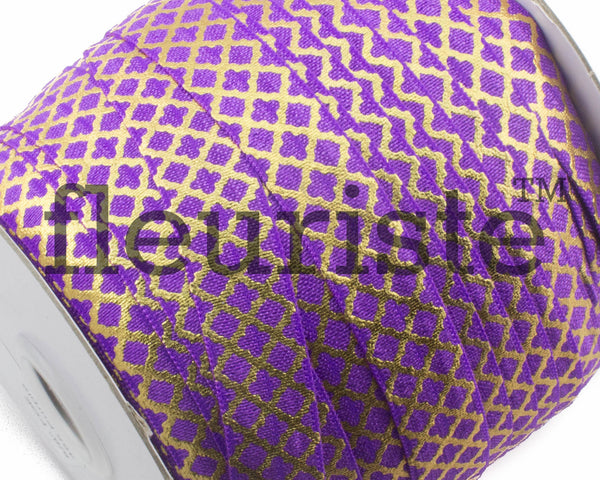 Printed Metallic Elastic 5/8 Purple Gold Quatrefoil Elastic