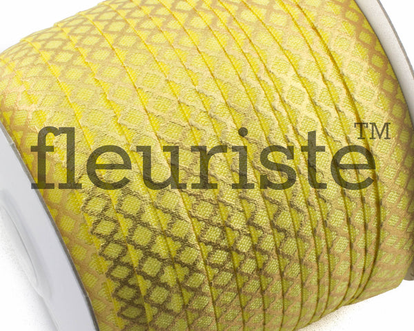 Printed Metallic Elastic 5/8 Yellow Gold Quatrefoil Elastic