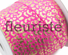 Printed Metallic Elastic 5/8 Hot Pink Gold Chetah Elastic