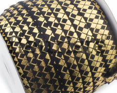 Printed Metallic Elastic 5/8 Black Gold Argyle Elastic
