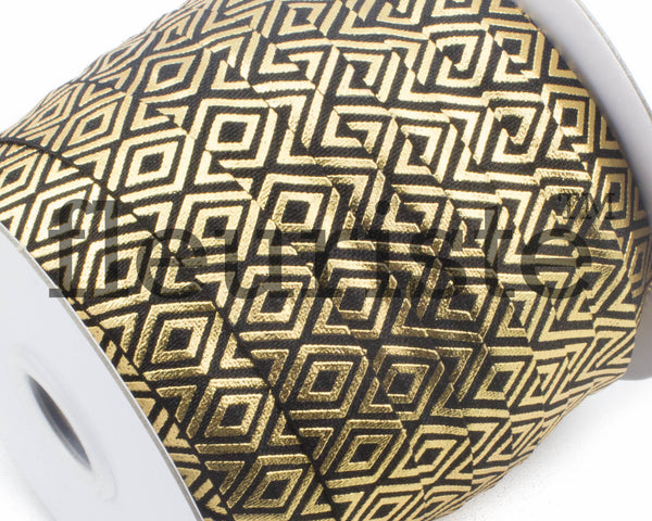 Printed Metallic Elastic 5/8 Black Gold Diamond Elastic