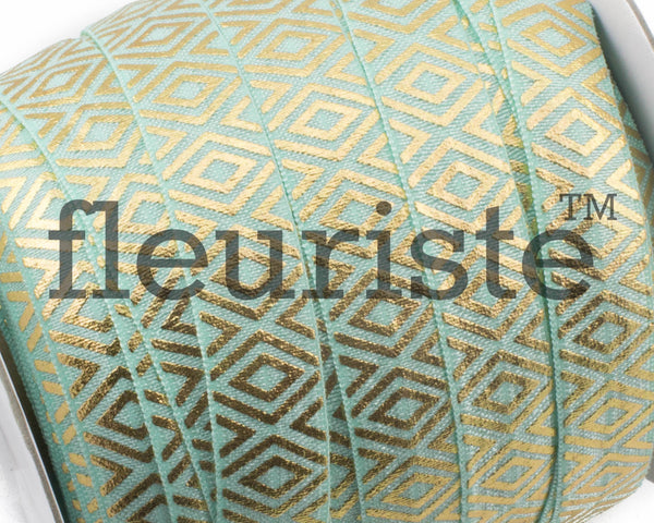 Printed Metallic Elastic 5/8 Aqua Gold Diamond Elastic